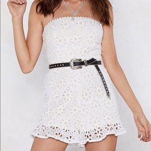 White Floral Lace Strapless Romper/Playsuit